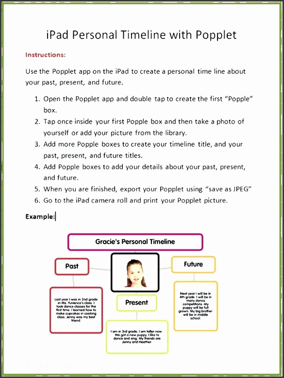 sample of a timeline the instructions are followed by a cute timeline example made by the