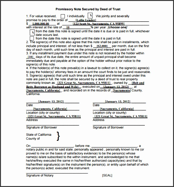 Real Estate Promissory Note Secured by Deed of Trust