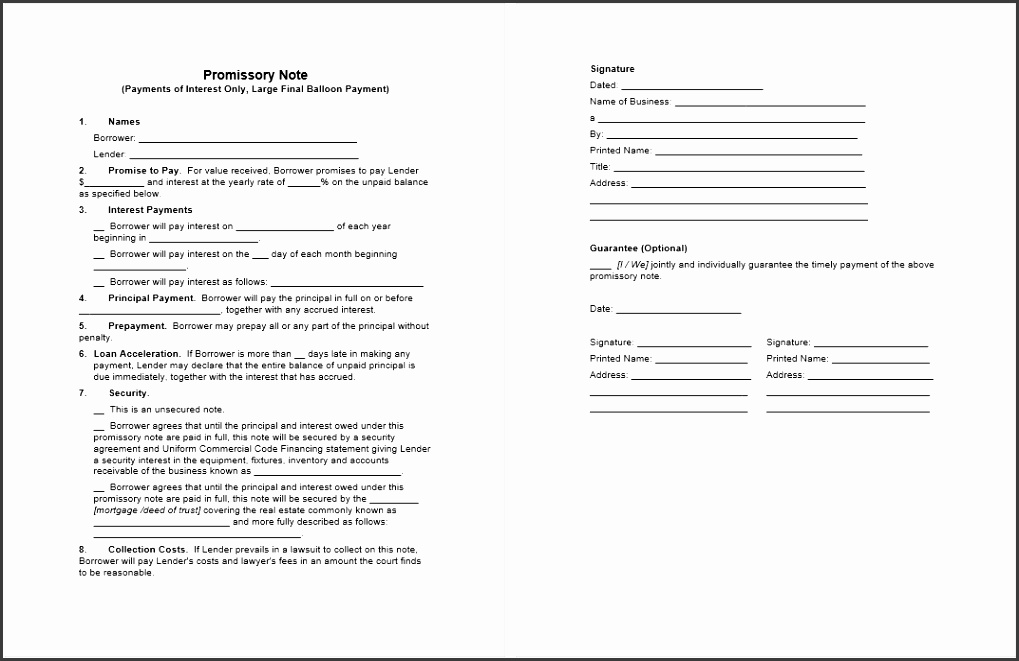 Promissory Note Template Word 04