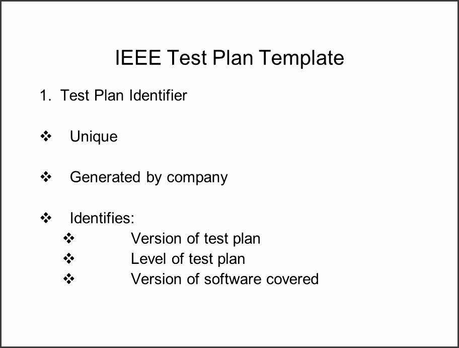 IEEE Test Plan Template