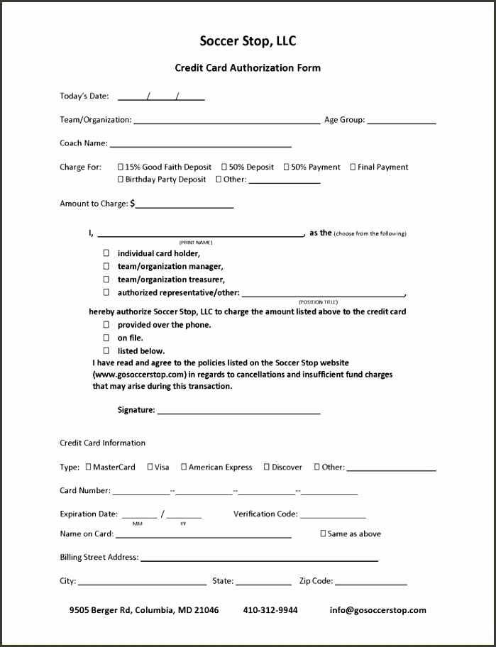 8 Recurring Credit Card Authorization form Template ...