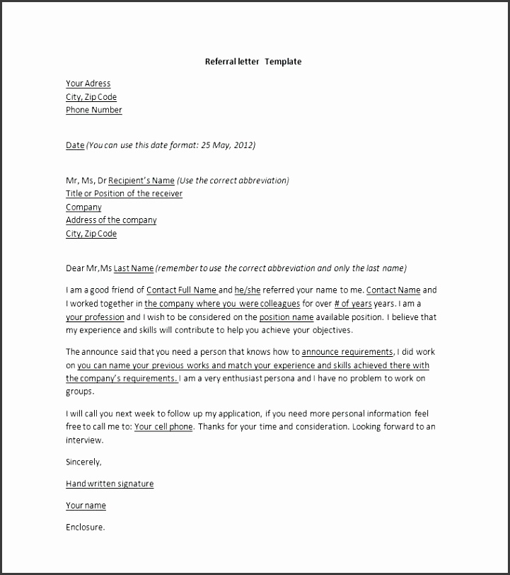 Cover Letter Referred By: 10 Referral Letter Template