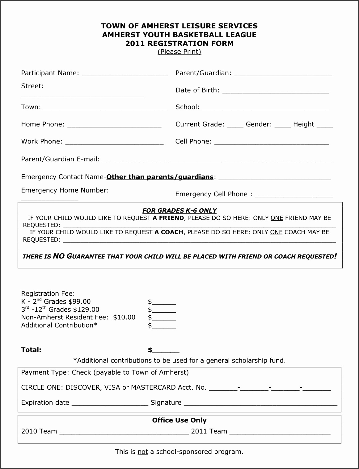 Free Sports Registration Form Template