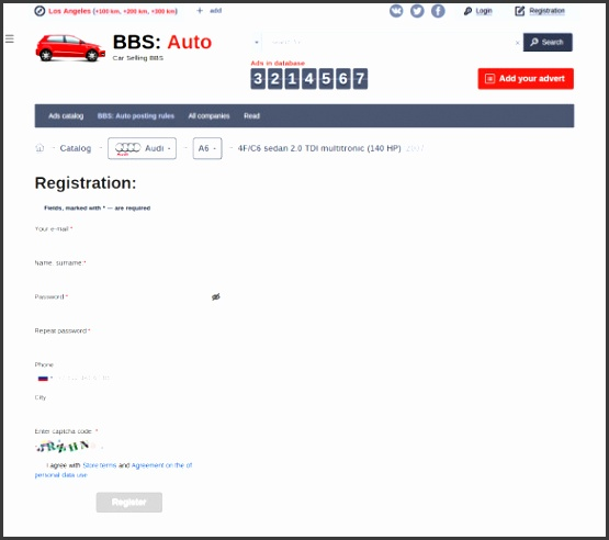 Auto Car Selling Registration Template