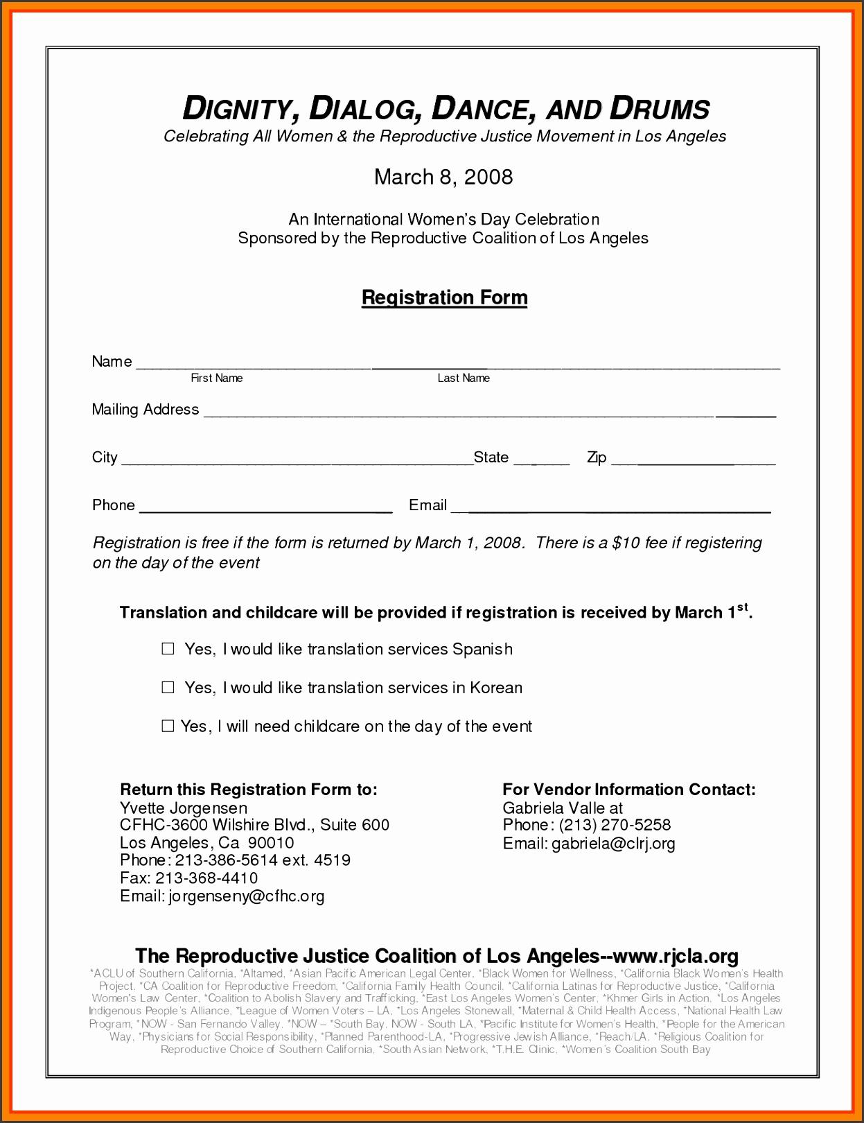 event registration form template registration form template 6