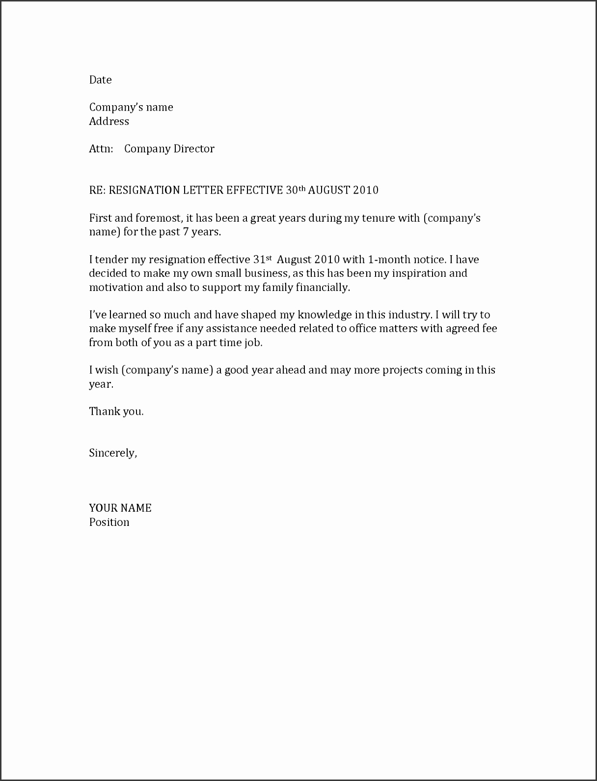 Gallery of Resignation Letter Template 1 Month Notice