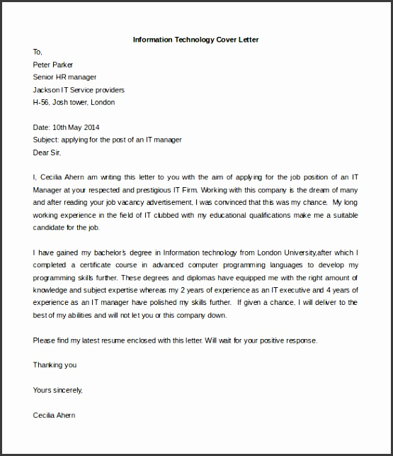 Information Technology Cover Letter Template Free Word Doc
