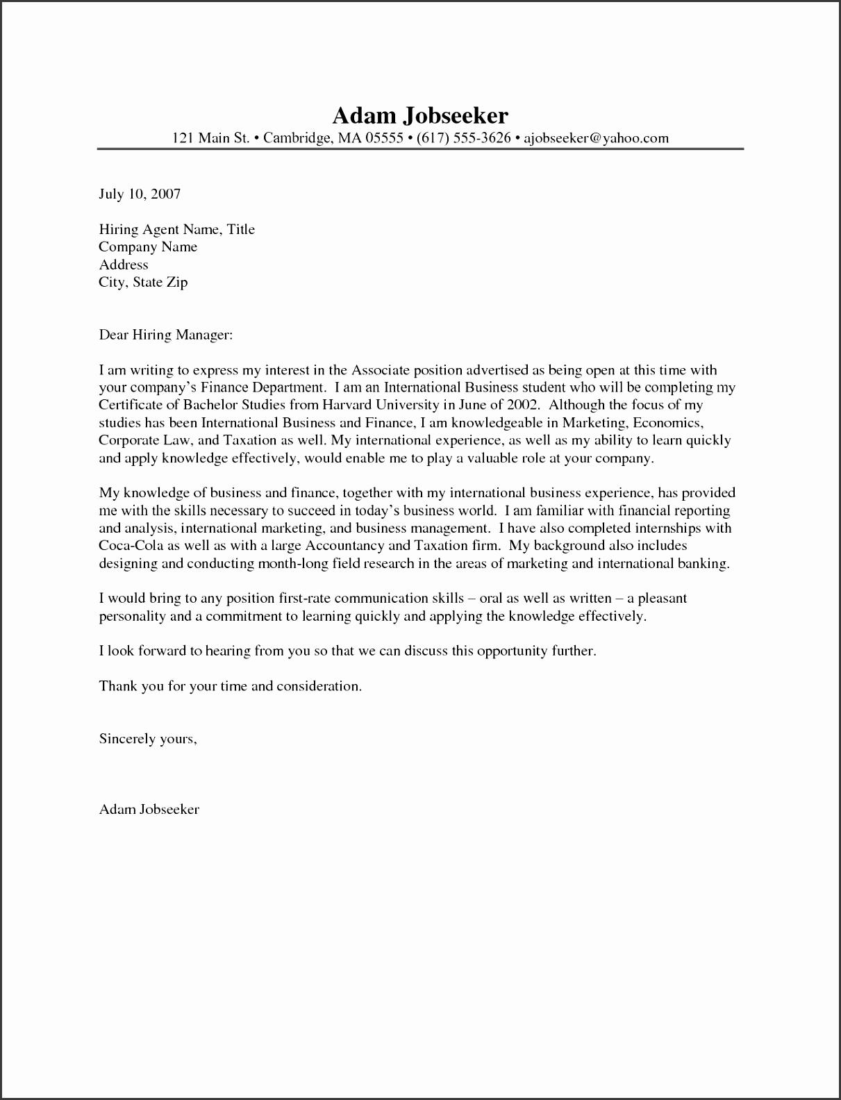 Cover Letter For Internship Resume Cover Letter Internship inside Internship Cover Letter Template 6596