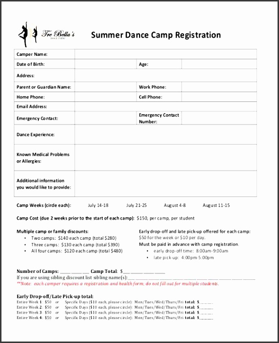 Dance Registration Form Template