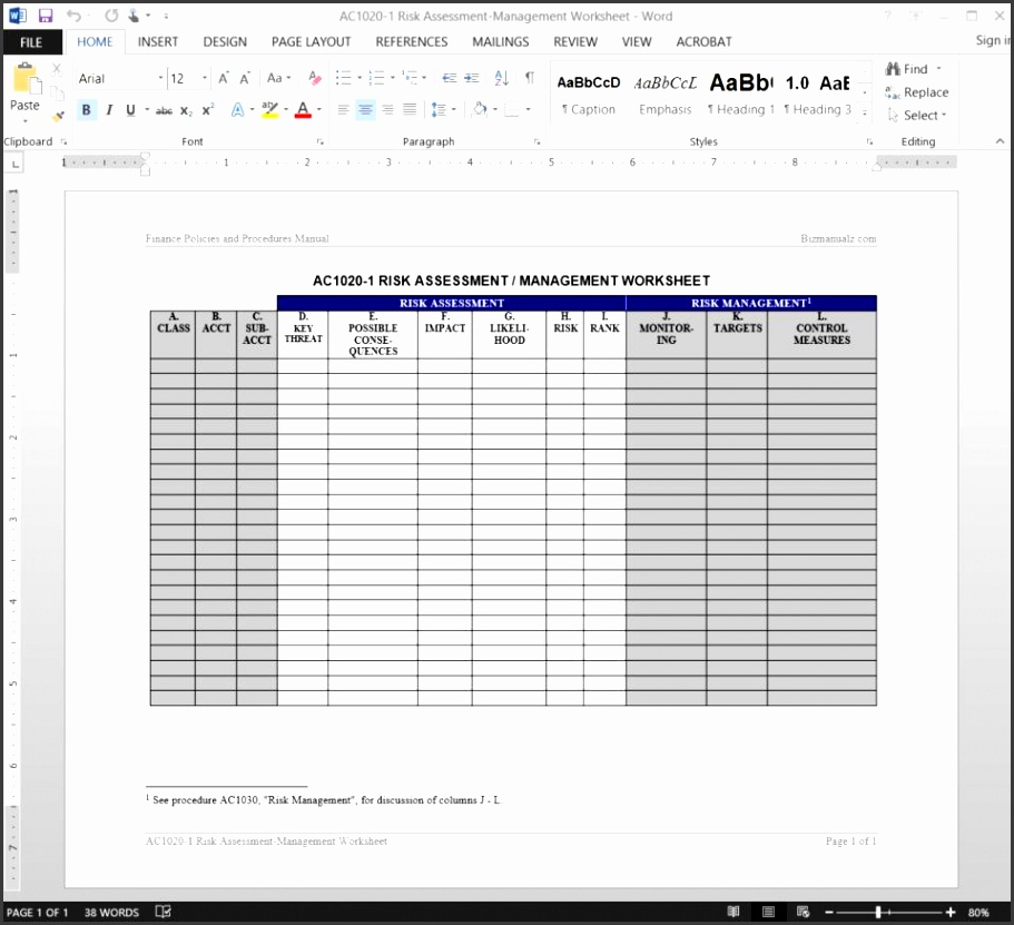 Risk Assessment Management Worksheet Template AC1020 1