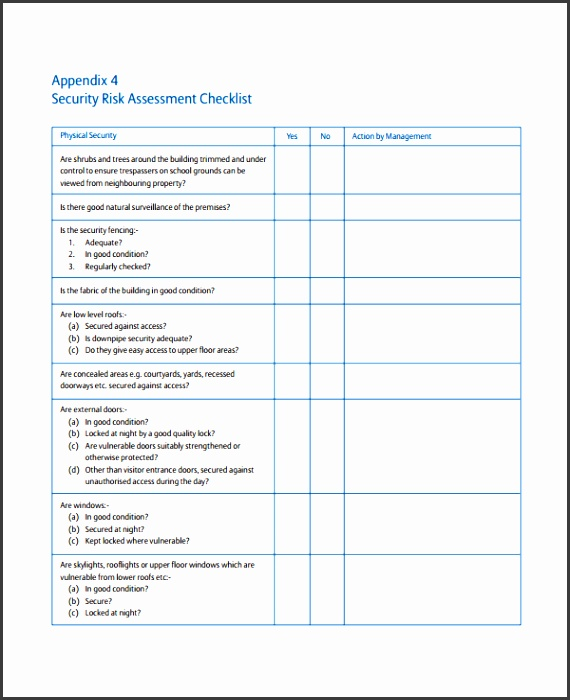 Security Risk Assessment Checklist Template