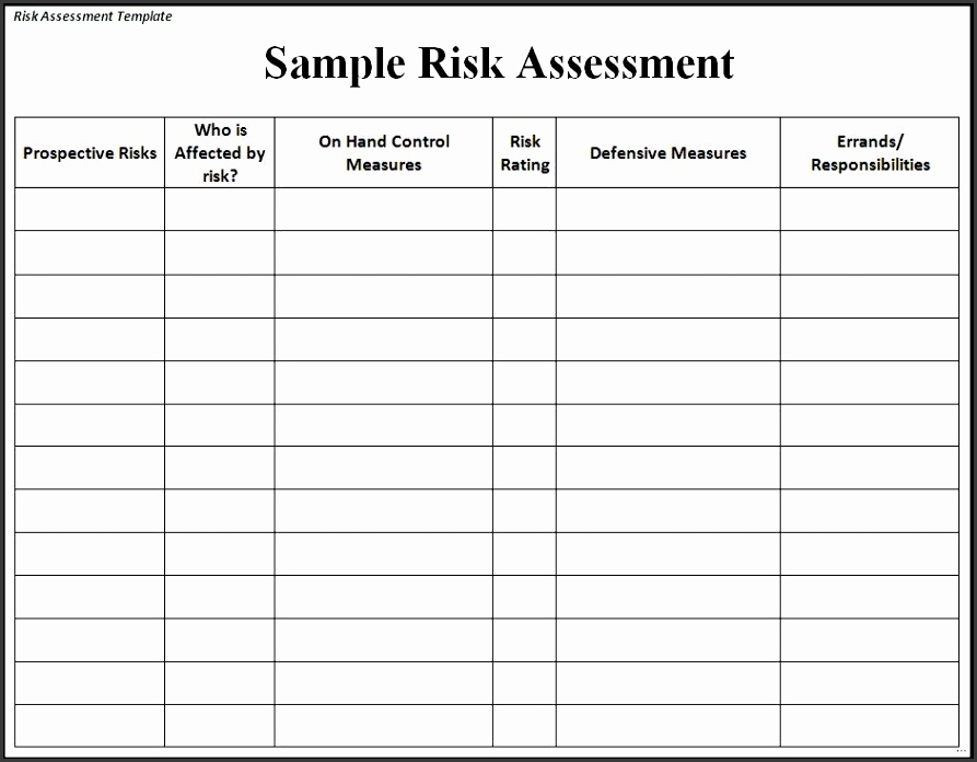 23 Sample risk assessment form strong Sample Risk Assessment Form Unconventional shots Template Word Excel Formats