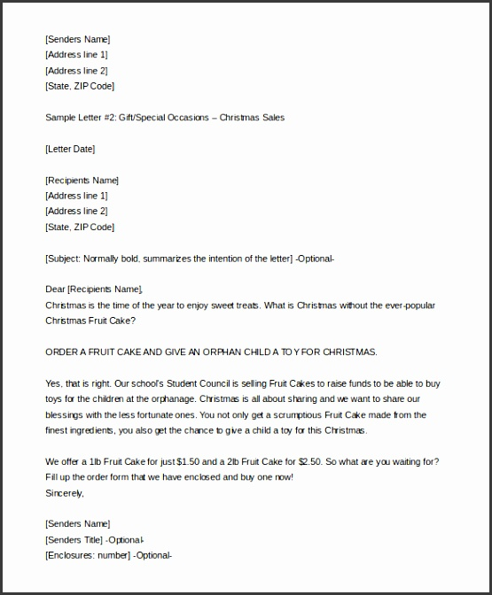 Marvelous Christmas Letter Template Doc for 9 Sales Letter Templates – Free Sample Example format