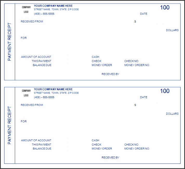 Home · Business Template · Outstanding Custom Payment Receipt Form Template With Blue Color And Border