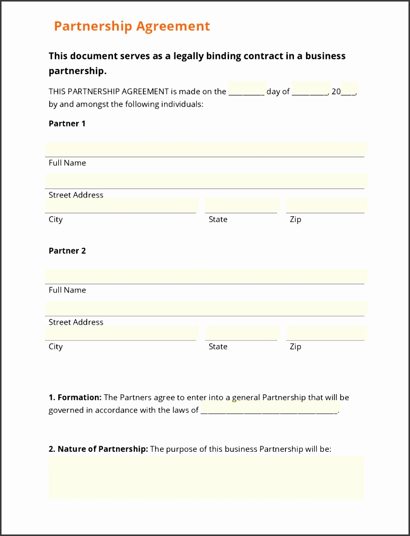 Partnership Operating Agreement Templates