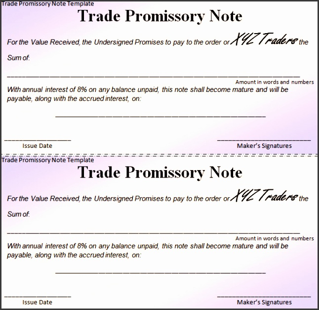 Free Promissory Note Template
