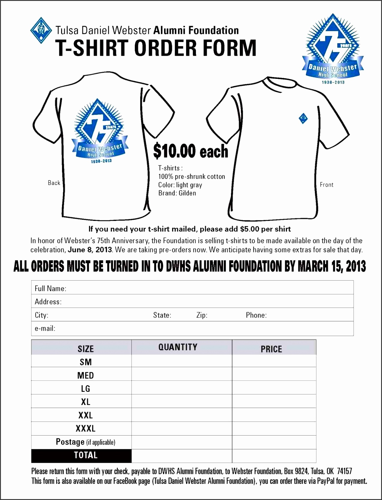form T Shirt Order Form Template Word template word event sponsorship