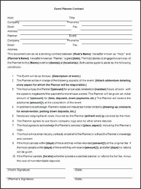 event planner agreement template event planner contract plan template event planner service contract template
