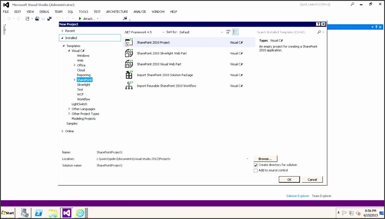 How to enable Point 2013 project templates in Visual Studio 2012