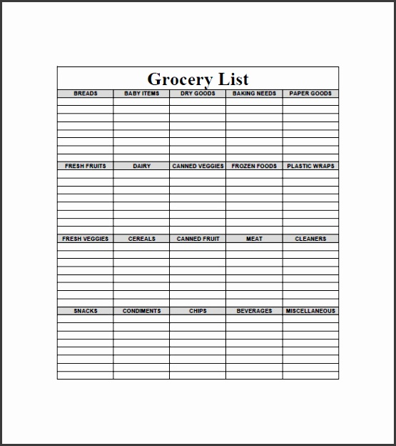 8 blank grocery list template free word excel pdf format
