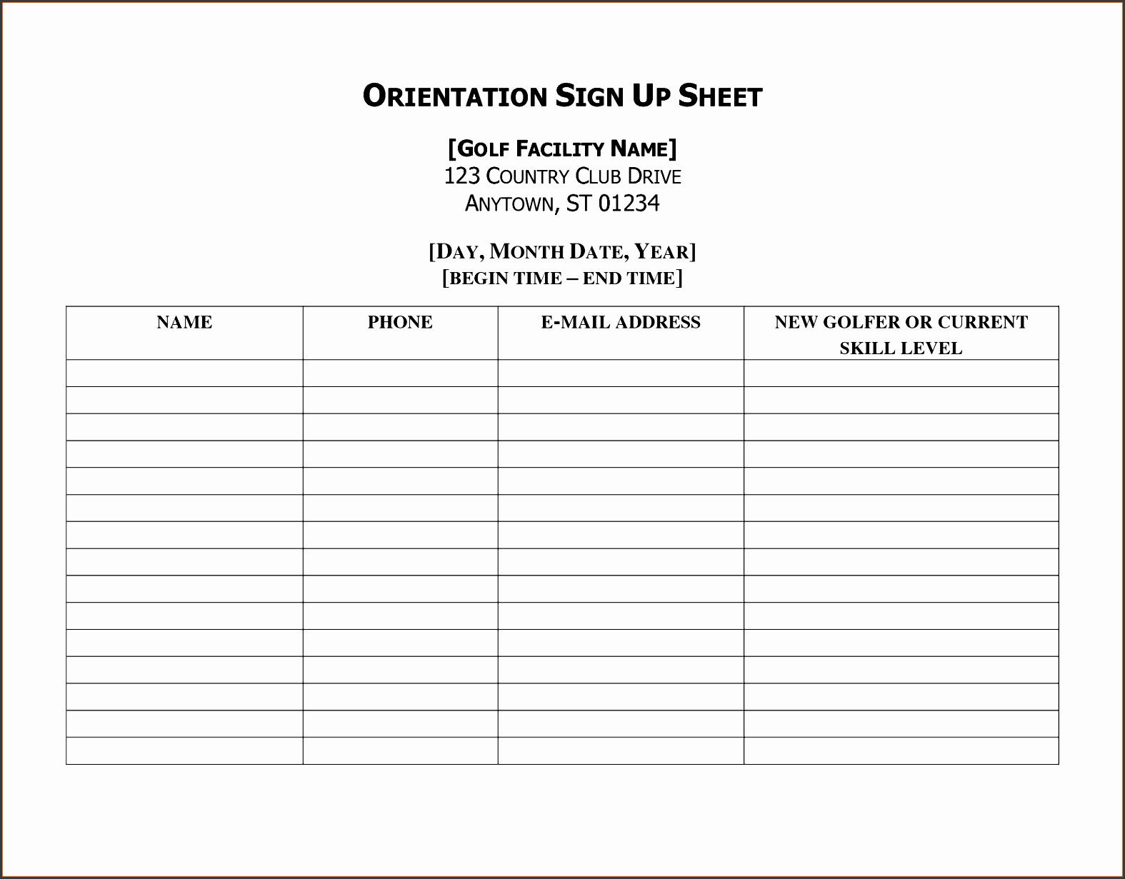 500608 Printable Sign Up Sheet Template 7  Printable Sign Up Sheet Template