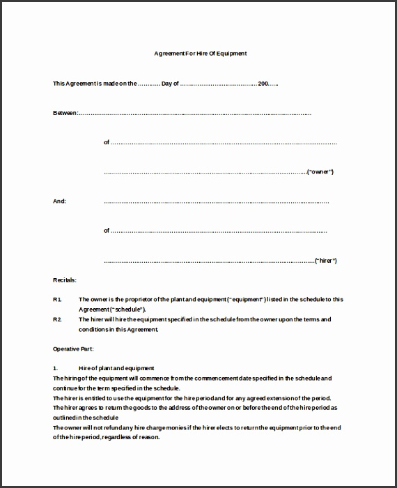 Equipment Hire Agreement Doc Free Download