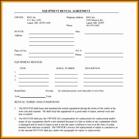 equipment rental agreement form free doc construction equipment