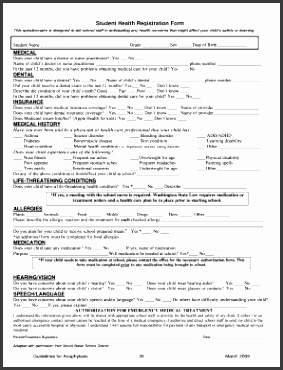 Student registration form sample