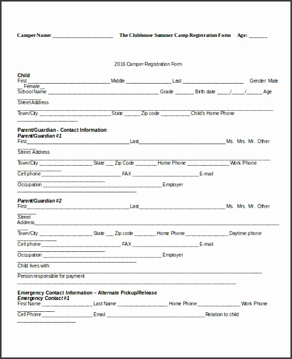 registration forms template word