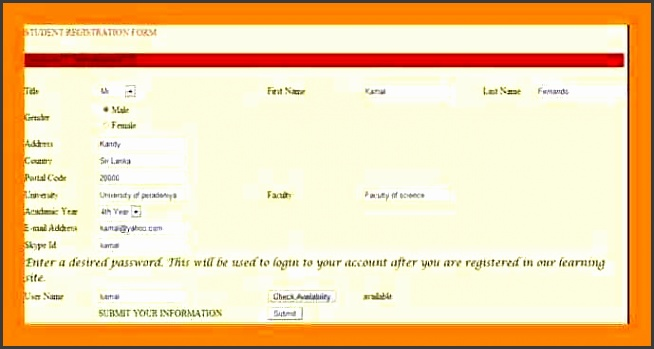 students registration form simple format
