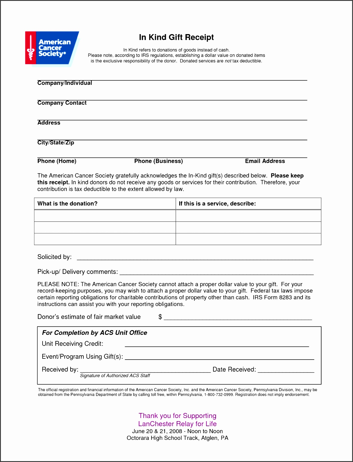 6 tax donation receipt template sampletemplatess. Black Bedroom Furniture Sets. Home Design Ideas