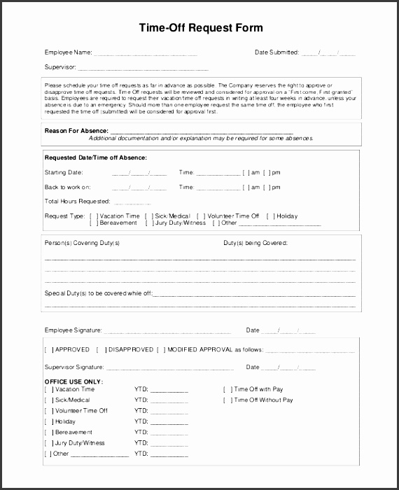 Time Off Request Form Template  Sampletemplatess  Sampletemplatess