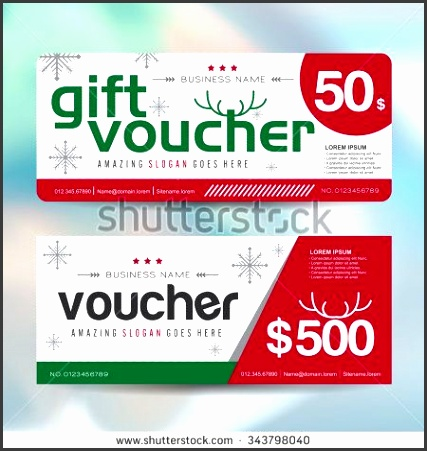 Gift voucher template with christmas colorful pattern Merry Christmas Vector illustration