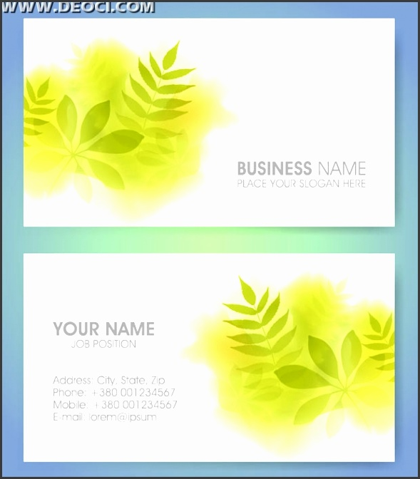 Environmentally friendly green leaves background design business card template illustrator EPS file free
