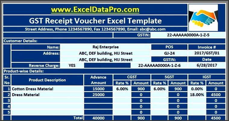 Download GST Receipt Voucher Excel Template For Advance Payments Under GST