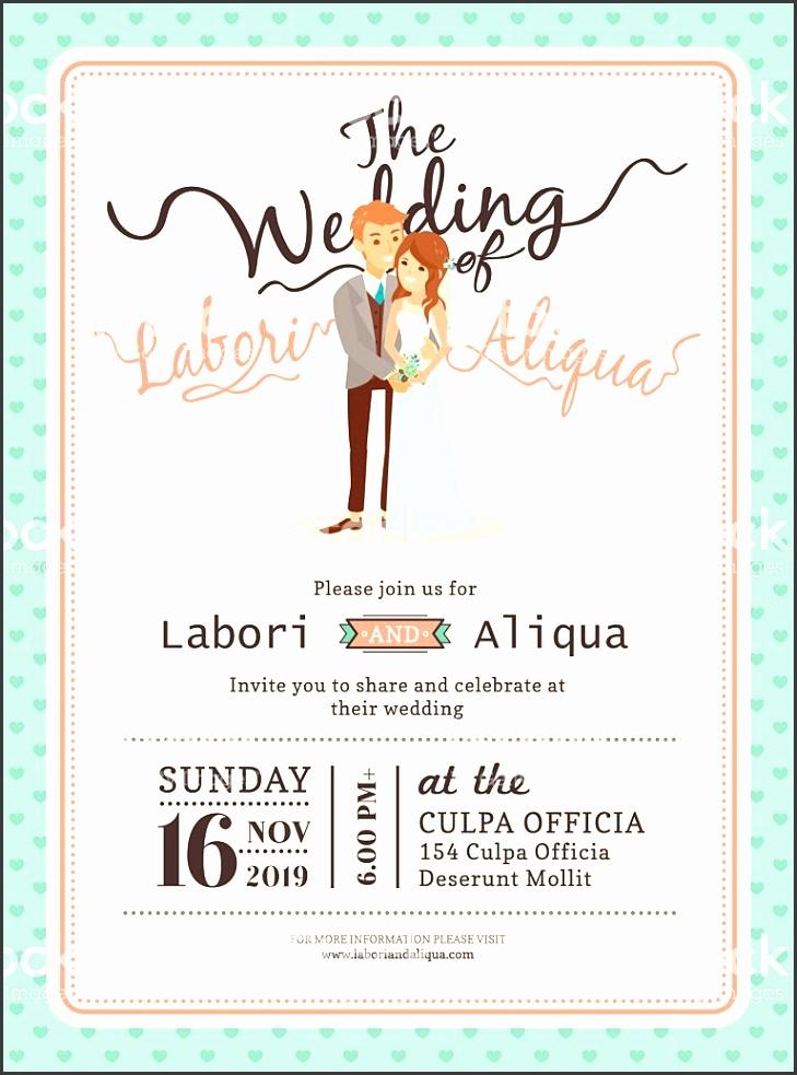 wedding couple groom and bride cartoon wedding card template royalty free stock vector art