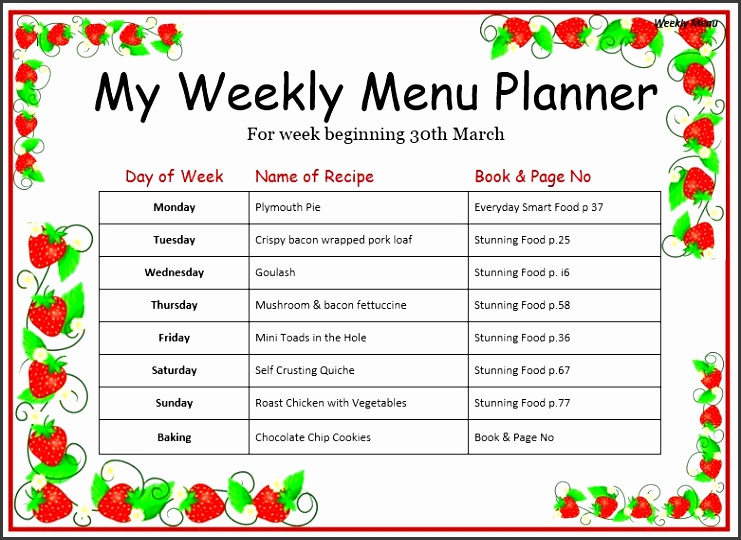 Weekly Menu Template Best 20 Weekly Menu Template Ideas