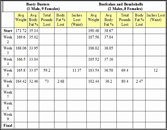 7 weight loss challenge spreadsheet template