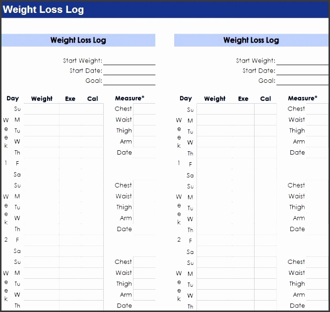 weight loss log templates