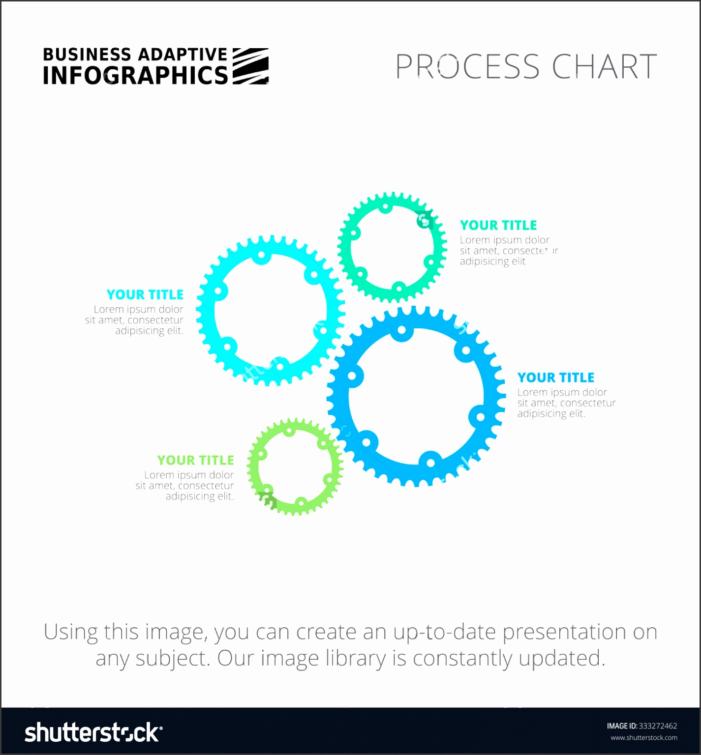 Editable infographic template of process gear wheel chart blue and green version