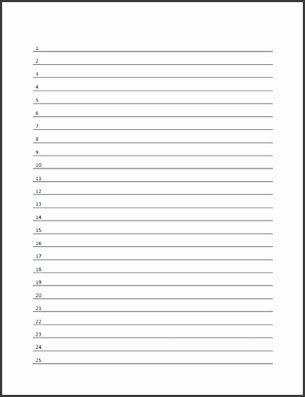 Download Printable Numbered Lined Paper Template Form