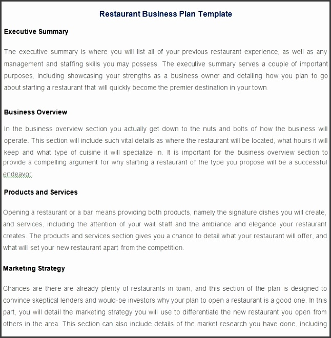 Restaurant Business Plan Template – 7 Free Pdf Word Documents