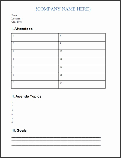Download Word Agenda Template