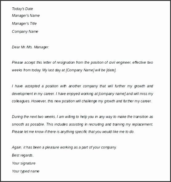 Two Weeks Notice Letter Template Resignation Letter Two Week
