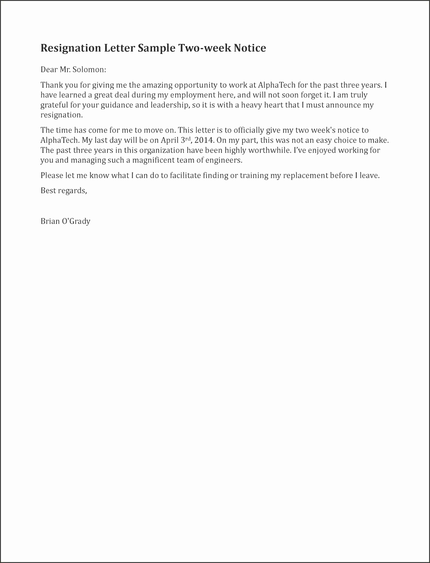 Sample – Resignation Two Weeks Notice 2