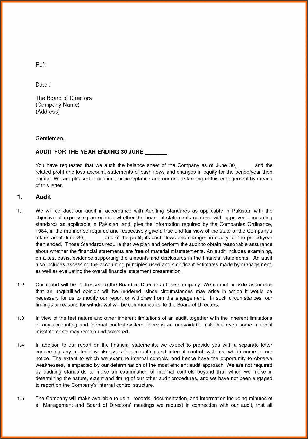 Aicpa Enement Letter Template on