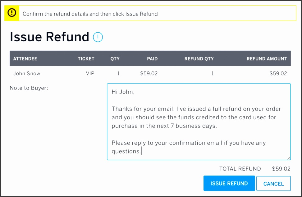 How To Refund An Order Eventbrite Help Center Banking Bank Charges Letter Format Barclaysim Form Account