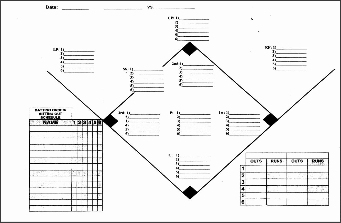 Bright image with printable baseball depth chart