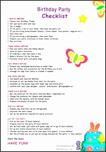 Birthday Party Checklist Template  Sampletemplatess