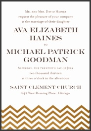A7 Printable Invitation · Gold Chevron Wedding Invitations · A7 Microsoft Word Template